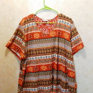 Loralette Tops - Colorful Short Sleeve Top